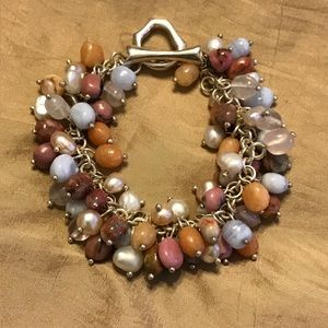 Cultured pearl and stone beaded bracelet